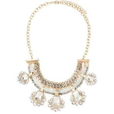 Forever 21 Rhinestone Chained Statement Necklace ($15) ❤ liked on Polyvore featuring jewelry, necklaces, bib statement necklace, beaded pendant necklace, forever 21 jewelry, rhinestone pendant and spiral pendant