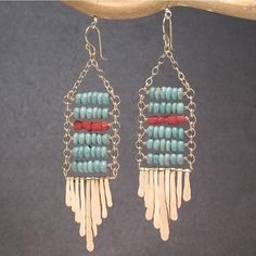 Turquoise and red coral hammered spike earrings by wanting