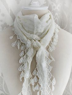 ANGEL WHITE lace scarf vintage Victorian inspired lace scarf