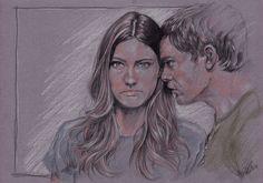 Debra & Dexter Morgan (aka Jennifer Carpenter and Michael C. Hall).A pencil on paper (A3).