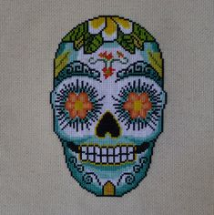 Aloha Flower Sugar Skull Cross Stitch Pattern par HanksPatternPlace, $4.50