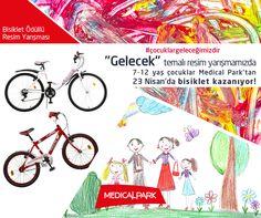 """""""Gelecek"""" temalı, bisiklet ödüllü resim yarışmamız Facebook'ta devam ediyor. Durma, sen de katıl!  Yarışma detayları için tıklayın. http://www.medicalpark.com.tr/23-nisan-yarisma-kurallari/?utm_source=365pinterest&utm_medium=365sm-pin&utm_campaign=cocuklargelecegimizdir #çocuklargeleceğimizdir #MedicalPark"""