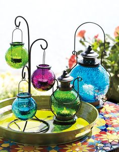 Our Sunburst Lanterns bring bursts of color to patios. Would love them for inside, in my Moroccan-inspired basement.