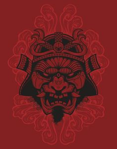 Samurai Rockaganda Art Print on Behance. If i ever had a samurai tattoo this would be it. Samurai Art, Samurai Warrior, Samurai Helmet, Samourai Tattoo, Japanese Warrior, Japan Tattoo, Japan Art, Vector Art, Fantasy Art