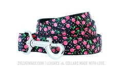 """The Cheerful Cherry Leash is available in two widths – 1"""" for larger dogs, and 3/8"""" for small and toy breeds. Both versions are 6' long, and feature a looped handle and a heavy-duty nickel-plated swivel clip for secure leash attachment."""