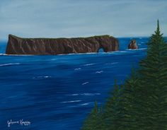 """Vue sur le Rocher par Johanne Kourie  Huile : 14""""x 18""""  johannekourie@videotron.ca Waves, Mountains, Nature, Outdoor, Art, Rock Cakes, Landscapes, Oil, Outdoors"""