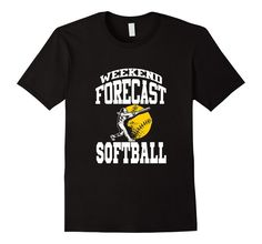 Men's Funny Softball Shirt: Weekend Forecast Softball T-shirt 2XL Black