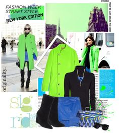 """""""NYFW Street Style - Pops of Acid Green"""" by gench ❤ liked on Polyvore"""