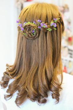 Waterfall braids, one of my favorite wedding day hair. Flowers in hair. Bridal hair.