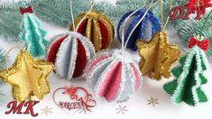 🎄 Decoração de Natal ⭐ 3 ideias DIY Foam Christmas Ornaments, Christmas Tree Toy, Christmas Sewing, Christmas Gifts For Kids, Christmas Crafts, Diy Diwali Decorations, Christmas Decorations, 242, Creation Deco