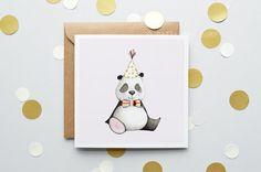 Panda Children's Card New baby Card Modern by DaisyandBumpArt