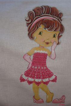 Pintura em tecido e crochê - Boneca charmosa.   Flickr – Compartilhamento de fotos!