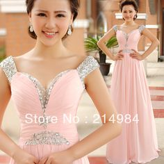2014 Free Shipping Beaded Straps Sexy V-neck A-line Pink Chiffon Formal Evening Dress Prom Party Gown US $79.00