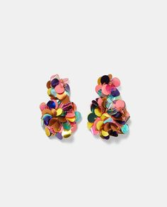 Image 1 of COLOURFUL SEQUIN EARRINGS from Zara