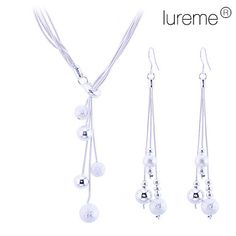 Lureme women's Matte Little Ball 925 Sterling Silver Plated Jewelry Set(Necklace & Earrings)  – AUD $ 10.00