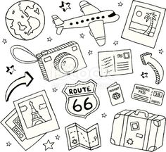 A collection of travel-themed doodles. Travel and doodles royalty free vekt . - A collection of travel-themed doodles. Travel and Doodles royalty-free stock vector art This image - Doodle Art, Doodle Drawings, Easy Drawings, Travel Doodles, Bujo Doodles, Free Doodles, Easy Doodles, Planner Doodles, Travel Drawing