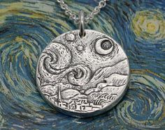 - Starry Night Sterling Silver Pendant, Van Gogh Necklace, Silver Moon Pendant Necklace, Artisan Sterling Silver Necklace, Celestial Jewelry This artisan handcrafted sterling silver pendant is a replica of Vincent van Gogh's masterpiece The Starry Night – Vincent Van Gogh, Jewelry Gifts, Unique Jewelry, Jewelry Necklaces, Jewlery, Jewelry Findings, Silverware Jewelry, Geek Jewelry, Coin Jewelry