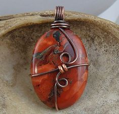 Red Jasper Oval Copper Wire Wrapped Necklace Pendant    I love these stones and wish I could find more. #Wirewrappedpendant