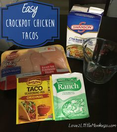 Easy Crockpot Chicken Tacos - Love 2 Little Monkeys - Keto - Chicken Ranch Tacos, Chicken Taco Recipes, Easy Crockpot Chicken, Mexican Food Recipes, Crockpot Shredded Chicken Tacos, Slow Cooker Chicken Tacos, Easy Chicken Tacos, Chicken Ideas, Chicken Bacon