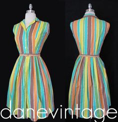 Vtg 50s CaNDy STriPeD Cotton Bombshell FIT FLARE Button Front Day House DRESS xs | eBay