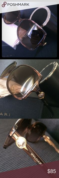 Bvlgari Sunglasses Tan colored mother of pearl look plastic frame with brown gradient lenses.  One small scratch in the corner of each lens. Case, box and cleaning cloth included. Bvlgari Accessories Sunglasses