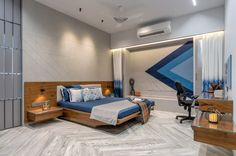 Apartment Interior With Use Of Screens as Element Of Surprise Bedroom False Ceiling Design, Bedroom Bed Design, Modern Bedroom Design, Home Decor Bedroom, Luxury Homes Interior, Apartment Interior Design, Luxury Home Decor, Sofa Design, Furniture Design