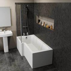 Ceramica L Shaped Shower Bath Bundle Left Hand - Including Shower Screen and Front Bath Panel L Shaped Bathroom, Bathroom Shop, Modern Bathroom, Small Bathroom, Bathrooms, Bathroom Layout, Bathroom Suites Uk, Bathroom Ideas, Family Bathroom