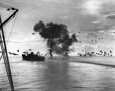 On 12 November 1942 three days of fighting began, in what came to be known as the Naval Battle of Guadalcanal. The battle began with Japanese air attacks on American ships which had just landed reinforcements, including units from the US Army's Americal Division (learn more here). Over the course of the next three days, the battle would evolve into a monumental engagement between battleships, cruisers, and destroyers in the narrow confines of Iron Bottom Sound.    In this photo, USS…