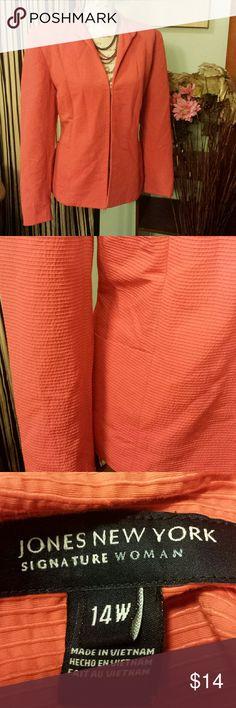 Jones new york burnt orange blazer size 14w Beautiful color. Beautiful material. One hook closure. Can be worn many ways. Cotton /  polymer mix.  Jones new york signature collection. Light shoulder pads. Beautiful blazer. Plus 14W Jones New York Jackets & Coats Blazers