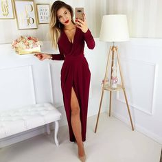 Celebirty Inspired Sukienka Hanah (ciemna czerwień) ost S Inspirational Celebrities, Prom Dresses, Wedding Dresses, Wedding Reception, Ideias Fashion, Wrap Dress, Jumpsuit, Unique, Skirts
