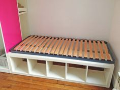 Build a daybed in the craft room with Kallax unit from Ikea.