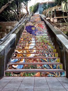 Street Art Mosaic Staircase in Inner Sunset, San Francisco, USA | Take a Quick Break