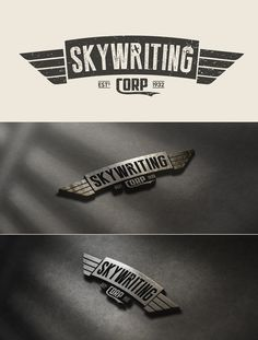 """Logo design for Skywriting Corp by maestro_medak: """"The idea for Skywriting logo was to make old design that indicate to the company with long tradition. This logo was made to be similar to pilot uniform tiles, and that was the main reason why I added metal plate presentation bellow."""""""