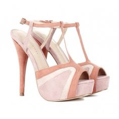 "Light Pink Heels Peep toe platform heel with t-strap and colorblock details.  Platform Description: 1 1/2"" Material: Faux Suede Heel Height: 5"" Fit: True to size BRAND NEW WITH ORIGINAL BOX I don't trade!!!!!!! Shoes Heels"