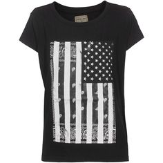 ELEVEN PARIS Flag USA Black Cotton T-shirt with print ($32) ❤ liked on Polyvore featuring tops, t-shirts, shirts, t shirts, blusas, crew-neck shirts, crew neck t shirt, crew neck tee, cotton crew neck t shirts and cotton shirts