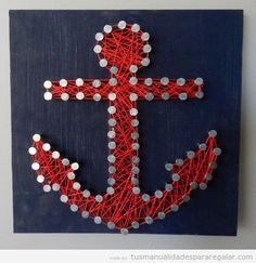 Anchor String Art, red and blue navy Anchor String Art, Anchor Crafts, Ideas Hogar, Arts And Crafts, Diy Crafts, Art Archive, How To Make Diy, Wall Signs, Diy For Kids