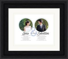 Wedding vow photo art featuring two circular photos.  Personalized with your choice of text and colors.