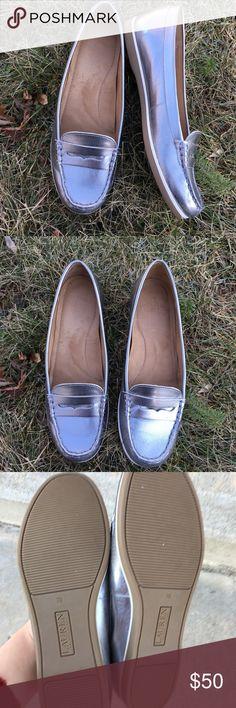 Silver metallic Ralph Lauren loafers/flats Silky Leather metallic flats in barely worn condition. Ralph Lauren Shoes Flats & Loafers