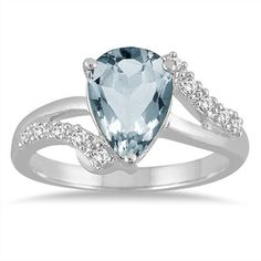 2.00 Carat Pear Shape Aquamarine and Diamond Ring in 10K White Gold.  What a PERFECT 40th birthday gift!!! :)