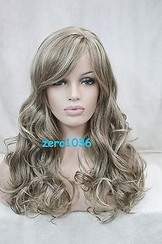 """22"""" Long Light Brown Mix Blonde Curly Side Skin Part Top Women's Synthetic Wig"""
