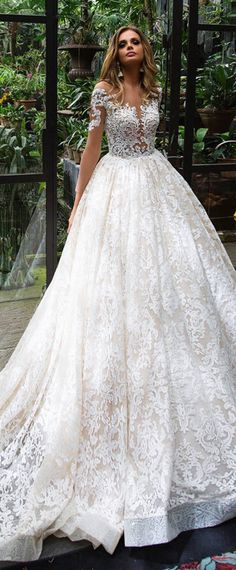 Wonderful Tulle & Lace Sheer Jewel Neckline See-through Bodice A-Line Wedding Dress With Lace Appliques