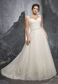 """Alençon Lace Appliqués on Soft Tulle Ball Gown with Wide Scalloped Hemline and Diamanté Waistline Trim, Available in Three Lengths: 55"""", 58"""", 61"""""""