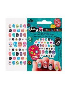 Sugar Skeleton Skull nail sticker art for Halloween or Dia de los Muertos