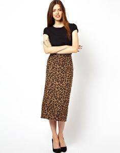Image 1 ofASOS Pencil Skirt in Textured Leopard Print