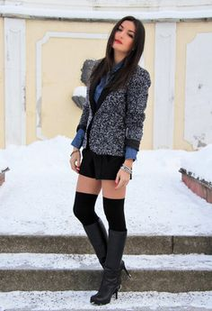 Red lipstick. Tweed jacket. Knee high socks. Knee high boots