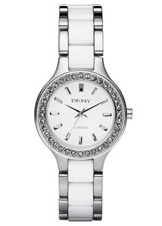 Dkny Chambers Ceramic & Stainless Steel Ladies Watch NY8139 £165.00 - OUT OF STOCK  DKNY Ladies, Stainless Steel Case, Round White Dial with Glitz Bezel, Stainless Steel and White Ceramic Bracelet #dkny #watch #ladies #steel