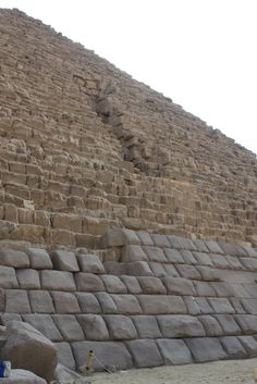 Cairo.  The outer casing stones of the pyramids.