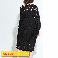 [GUTU] Spring Summer Black Flower Hollow Out Lace Dress Korean Loose Batwing Sleeve Big Size Dresses Camisole 2pieces T56101