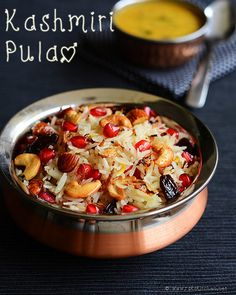 Kashmiri Pulao Kashmiri pulao is a simple, light and flavorful Indian rice recipe that marked for its distinct yet mellow flavors and slight sweet taste. Fruit Recipes, Rice Recipes, Indian Food Recipes, New Recipes, Vegetarian Recipes, Chicken Recipes, Ethnic Recipes, Recipies, Arabic Recipes