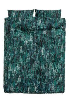 Lehtikuvioitu pussilakanasetti - Tummanvihreä - Home All | H&M FI